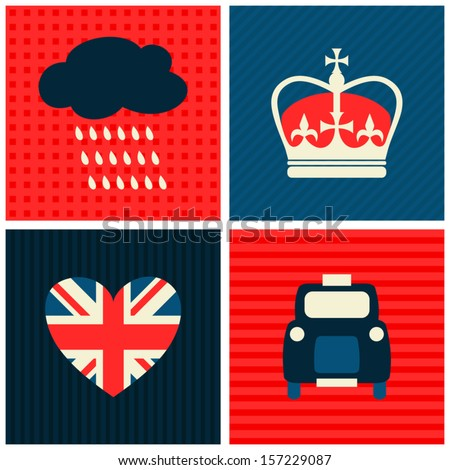 A set of greeting cards with London symbols. - stock vector