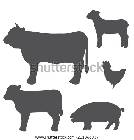 a set of grey silhouettes of some farm animals - stock vector