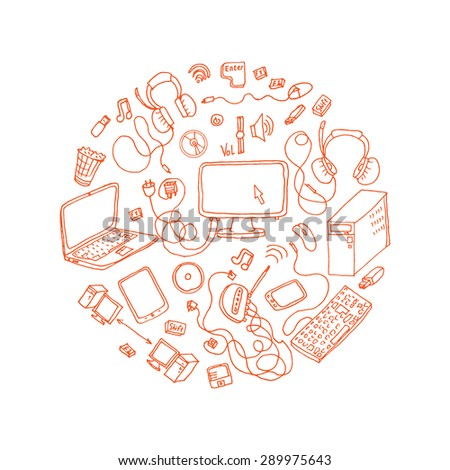 a set of hand drawn doodles of electronic gadget. vector illustration - stock vector