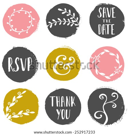 A set of 9 hand drawn paint circles with wedding decorative elements isolated on white. - stock vector