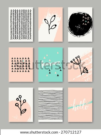 A set of hand drawn style greeting card templates in black, white and pastel pink and blue. Abstract brush strokes, doodles and floral element designs with copy space. EPS 10 file, gradient mesh used. - stock vector