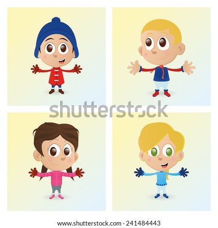 a set of happy kids with winter clothes - stock vector