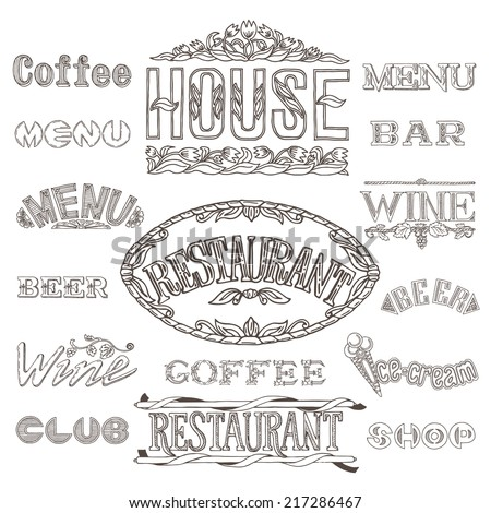 A set of headers for processing coffee, wine, beer, bars, restaurants, shops. Signs and labels in vintage style. Hand made schedule. - stock vector