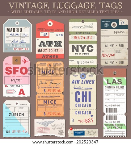 A set of high detail grunge Passport and Luggage Tags, Tickets and stamps. Vector file is EPS v.10. Transparency effects are present. Vector file is organized with layers. - stock vector