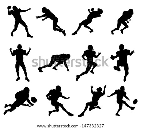 A set of highly detailed high quality American football player silhouettes - stock vector