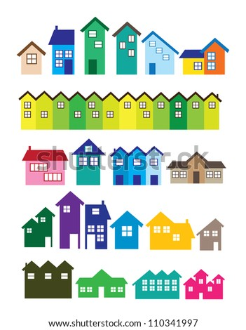 A set of House illustrations. Real estate. - stock vector