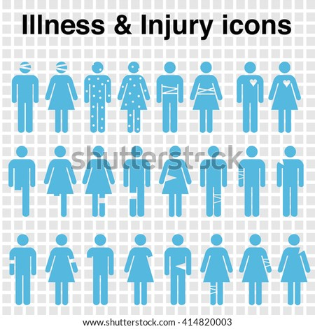 a set of icons depicting bodily injuries - stock vector