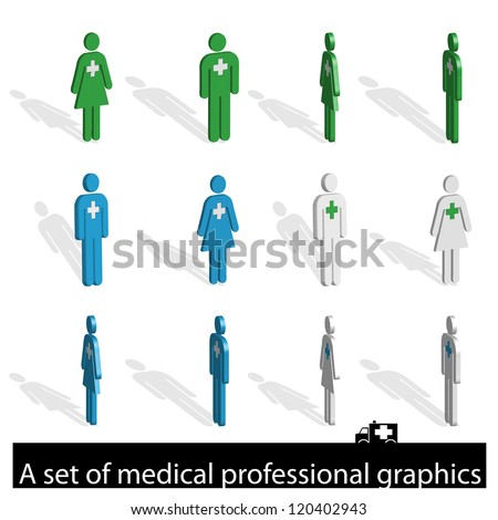 A set of icons of medical professionals - stock vector