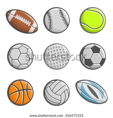 A set of images of sports balls - stock vector