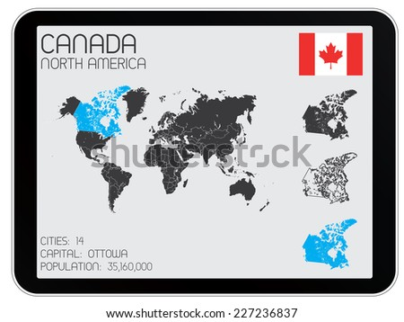 A Set of Infographic Elements for the Country of Canada - stock vector
