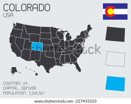 A Set of Infographic Elements for the State of Colorado - stock vector
