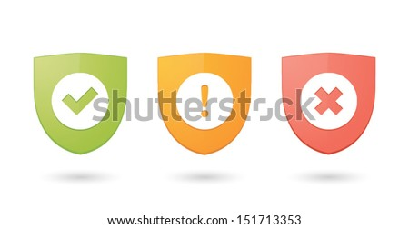 A set of informatic protection shield icons - stock vector