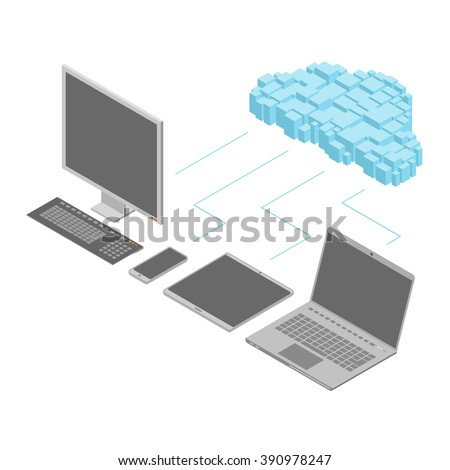A set of isometric computer devices connected to the cloud. The leftmost device is a monoblock PC. Vector illustration can be used for display of cloud computing. - stock vector
