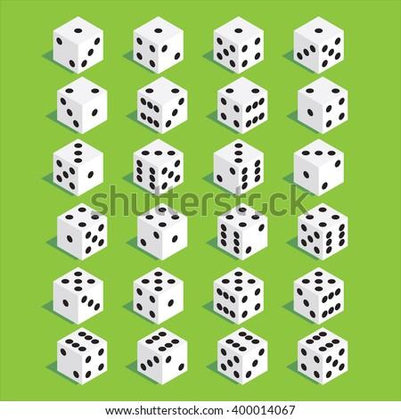 A set of isometric dice. Twenty-four variants loss dice. Vector illustration. - stock vector