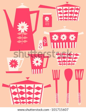 A set of kitchen utensils and dishware in retro style. - stock vector