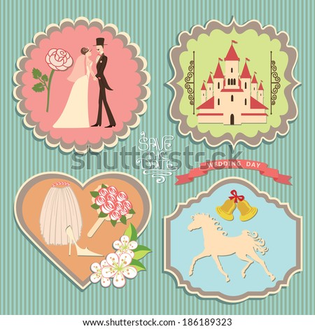 A set of labels with the wedding items for wedding invitations, template in retro style - stock vector
