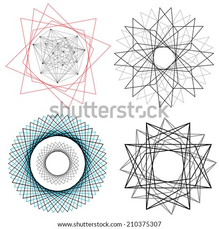 A set of linear geometric designs, mostly asymmetrical using a series of overlaid shapes - stock vector