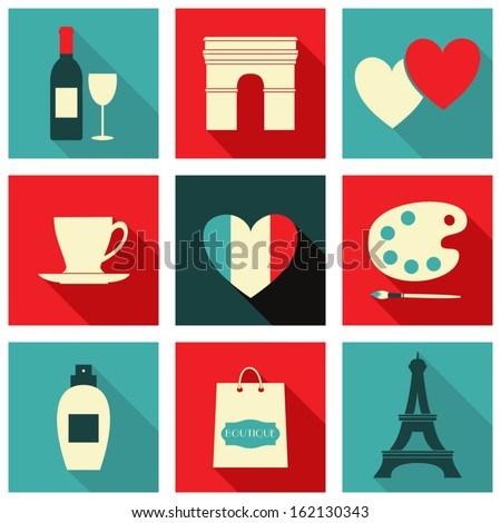 A set of long shadow icons with Paris symbols. - stock vector