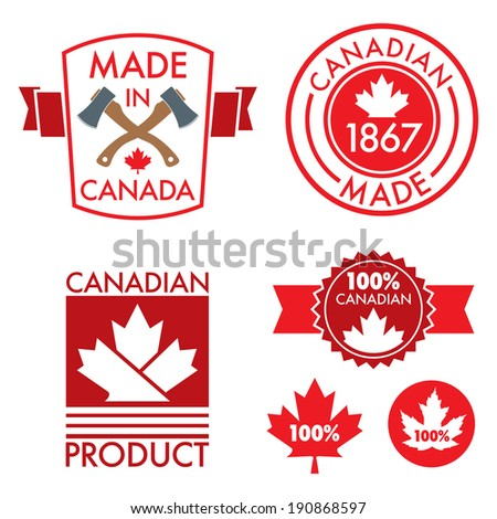 A set of made in Canada patches and crests in vector format. - stock vector