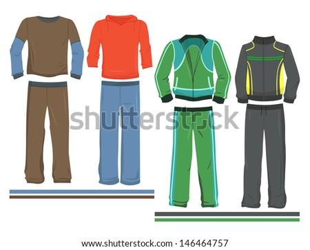A set of men's sportswear - stock vector