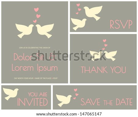 A set of minimalist design cards for wedding, engagement, bridal shower, etc. - stock vector