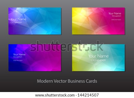 A set of modern vector business cards with polygonal background - stock vector