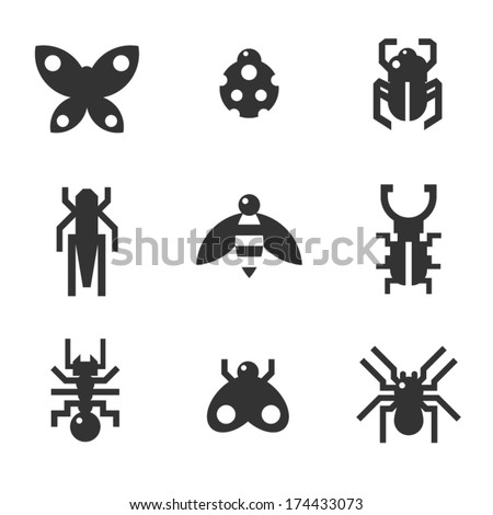A set of monochrome flat insect bug icons, including ladybird  - stock vector