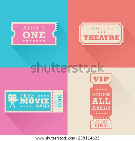 A set of movie admission tickets  - stock vector