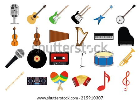 a set of musical instruments on a white background - stock vector