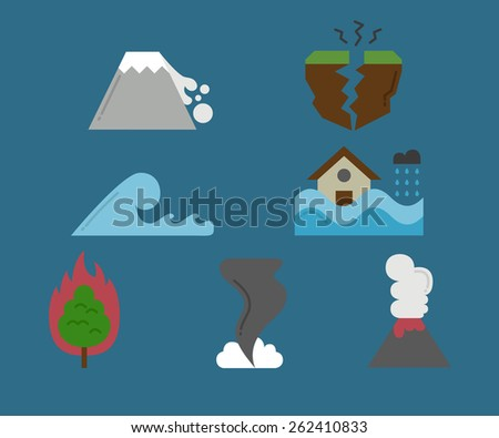 A set of natural disaster icons - stock vector