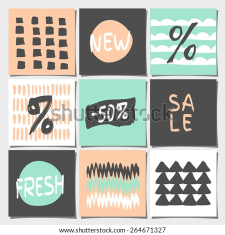 A set of nine abstract geometric designs in pastel colors. Shopping, sales, advertising, price tags and product label templates. Organic patterns and textures in peach pink, mint, gray and white. - stock vector