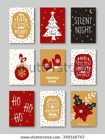 A set of nine Christmas greeting cards in red, white, black and gold. Christmas symbols and typographic design templates collection. EPS10 file, gradient mesh used. - stock vector