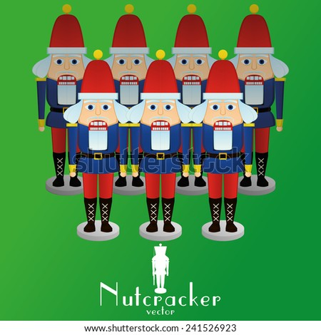 a set of nutcracker soldiers on a green background - stock vector
