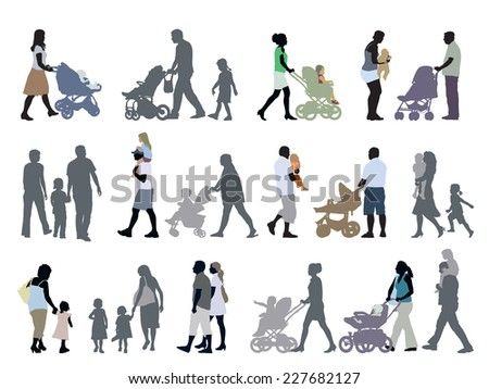 A set of parents and children silhouettes - stock vector