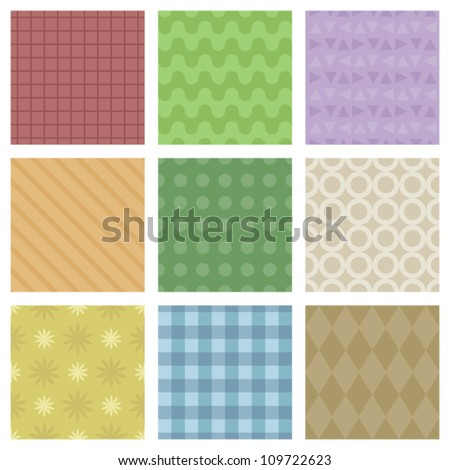 A set of 9 pastel colored seamless patterns. Eps 10 Vector. - stock vector