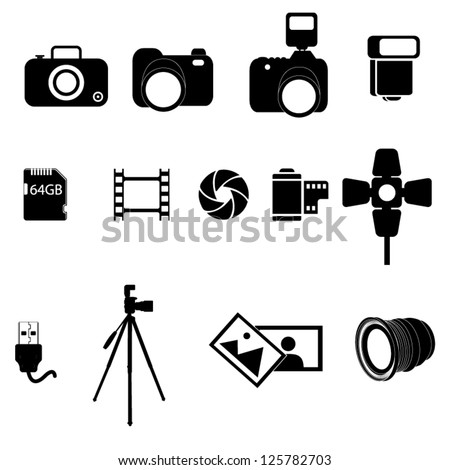 A set of photography icons - stock vector