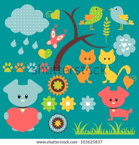 A set of pretty baby elements - stock vector