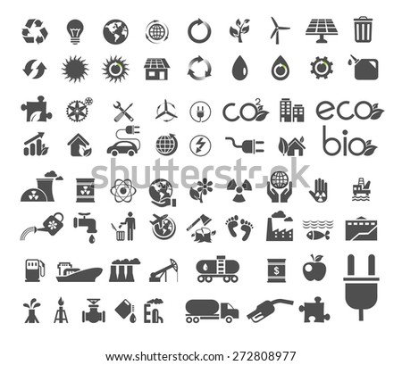 A set of recycle, ecology, global nature icon. Vector flat design illustration.  - stock vector