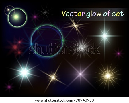 A set of reflections. The bright flash. Vector elements. - stock vector