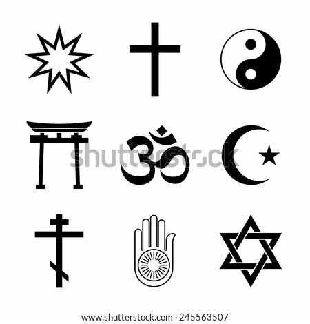 A set of Religious symbols. Black silhouettes isolated on white. - stock vector