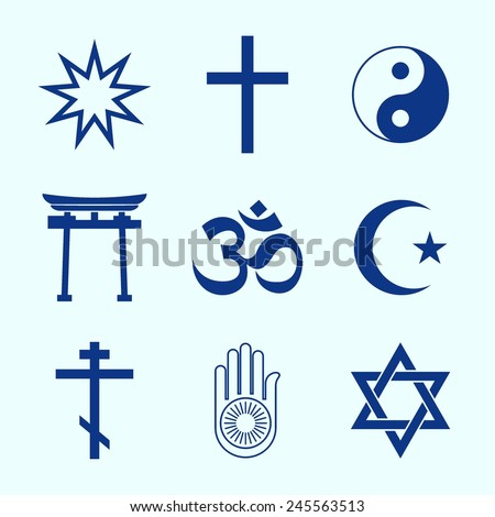A set of Religious symbols. Blue silhouettes - stock vector