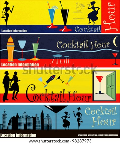 A set of Retro Cocktail Hour Web Banner Illustrations - stock vector