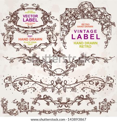 A set of retro grapes design elements. - stock vector
