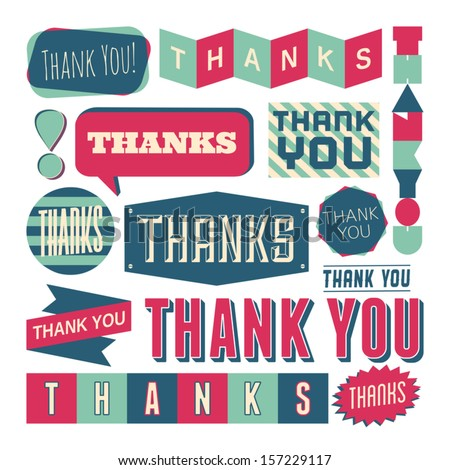 A set of retro style 'Thank You' design elements isolated on white. - stock vector