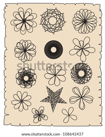 A set of round knitted vector elements - stock vector