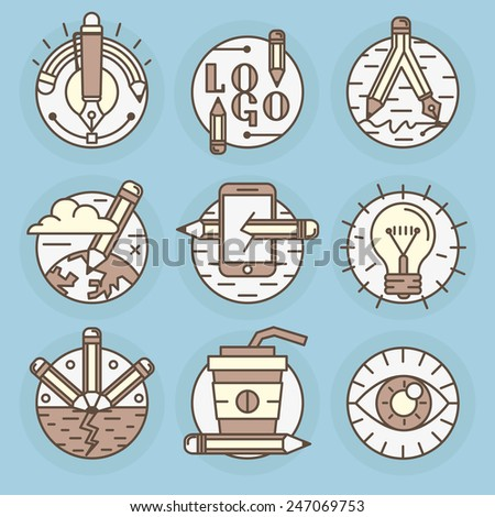 A set of round vector icons. Pencil, creative process, drawing, creativity, best idea, workspace. - stock vector