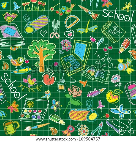 A set of school subjects for training and recreation. Seamless vector background. - stock vector