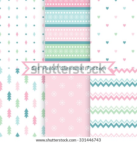A set of seamless Christmas patterns. Illustration of a Christmas tree, snow. Pastel colors. Perfect for wallpapers, background, textile, Christmas and New Year greeting cards - stock vector