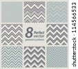 A set of 8 seamless retro Zig zag patterns. - stock vector