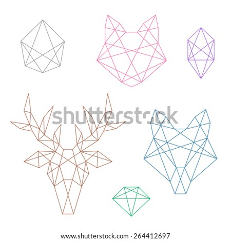 A set of several polygonal objects. Animal heads and crystals  - stock vector